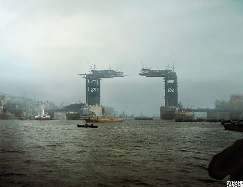 Colorized by Jordan Lloyd/Dynamic Chrome In this amazing colorized photo by Jordan Lloyd of Dynamic Chrome, we see London's iconic Tower Bridge under construction in 1889. On Medium, Jordan adds: Tower Bridge was begun in 1881 and opened in 1894, to designs by Sir Horace Jones. It was designed so that the central section could be raised to allow the passage of ships to and from the busy wharves of London.